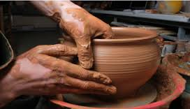 Making a clay pot