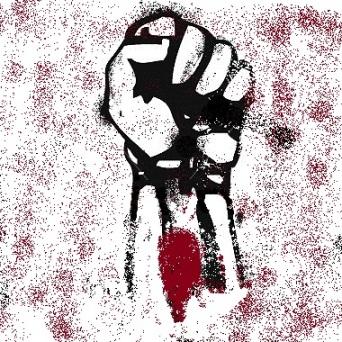 Revolutionary Fist. Black on White