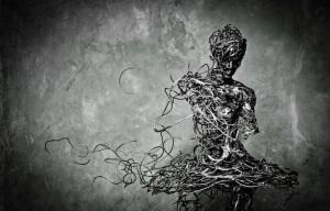Unraveling Metal Ballerina Sculpture